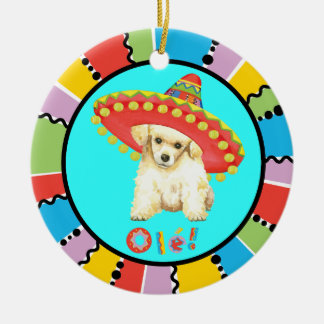 Fiesta Toy Poodle Round Ceramic Decoration