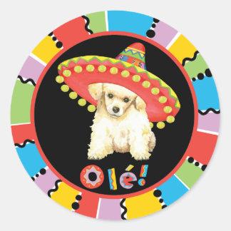 Fiesta Toy Poodle Round Sticker