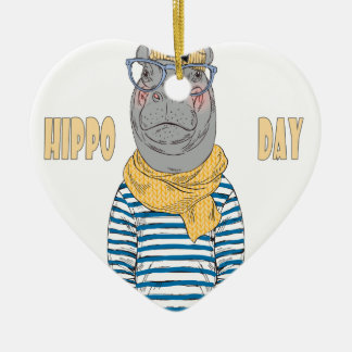 Fifteenth February - Hippo Day - Appreciation Day Ceramic Ornament