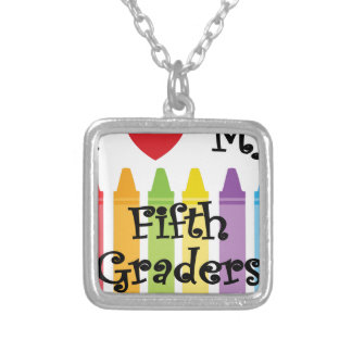 Fifth grade teacher2 silver plated necklace