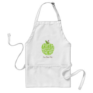 Fifth Grade Teacher Apron - Green Apple