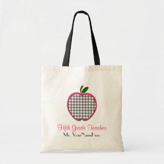 Fifth Grade Teacher Bag - Gray Gingham Apple