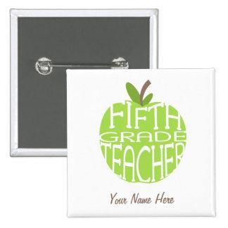 Fifth Grade Teacher Button - Green Apple