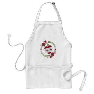 Fifth Grade Teacher Floral Wreath Red Apple Aprons