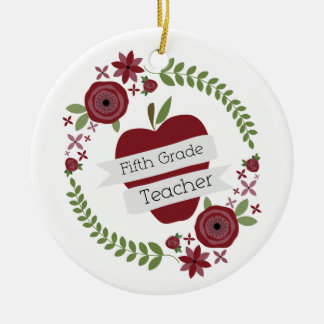 Fifth Grade Teacher Floral Wreath Red Apple Christmas Tree Ornament