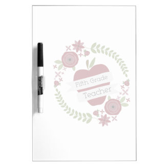 Fifth Grade Teacher Floral Wreath Red Apple Dry-Erase Boards