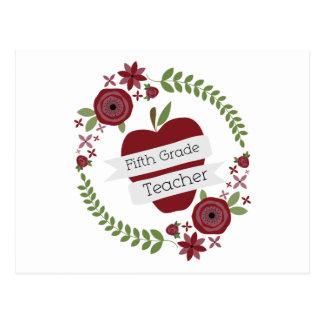Fifth Grade Teacher Floral Wreath Red Apple Postcard