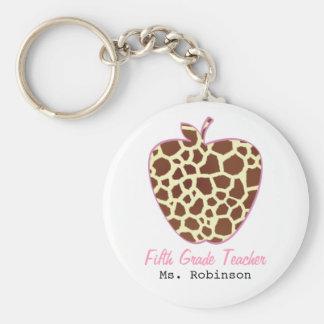 Fifth Grade Teacher Giraffe Print Apple Basic Round Button Key Ring