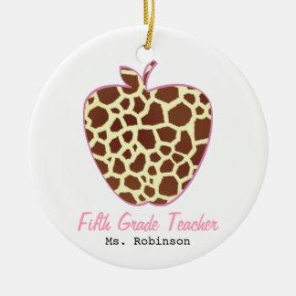 Fifth Grade Teacher Giraffe Print Apple Round Ceramic Decoration