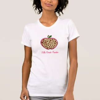 Fifth Grade Teacher - Giraffe Print Apple Tees