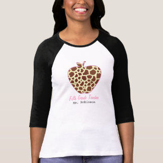 Fifth Grade Teacher Giraffe Print Apple Shirt