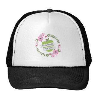 Fifth Grade Teacher Green Apple Floral Wreath Cap