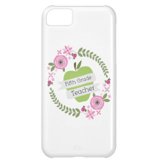 Fifth Grade Teacher Green Apple Floral Wreath iPhone 5C Cover