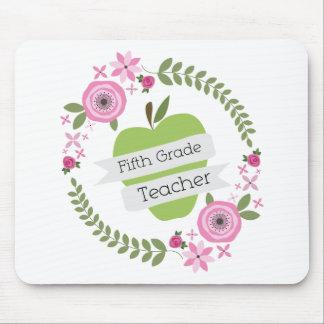 Fifth Grade Teacher Green Apple Floral Wreath Mousepads