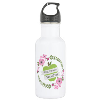 Fifth Grade Teacher Green Apple Floral Wreath 532 Ml Water Bottle