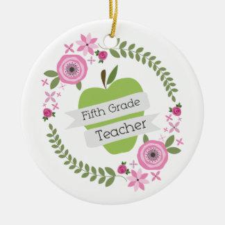 Fifth Grade Teacher Green Apple Floral Wreath Round Ceramic Decoration