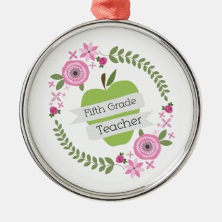 Fifth Grade Teacher Green Apple Floral Wreath Silver-Colored Round Decoration