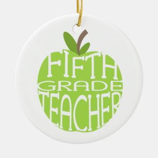 Fifth Grade Teacher Green Apple Ornament