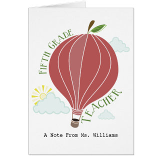 Fifth Grade Teacher Hot Air Balloon Apple Greeting Card
