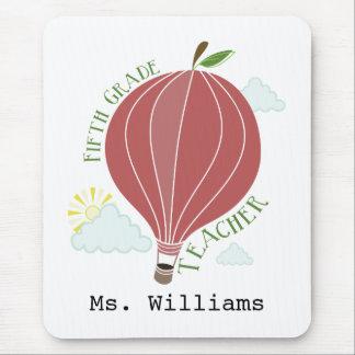 Fifth Grade Teacher Hot Air Balloon Apple Mousepads