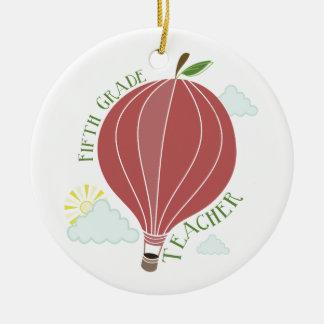 Fifth Grade Teacher Hot Air Balloon Apple Round Ceramic Decoration