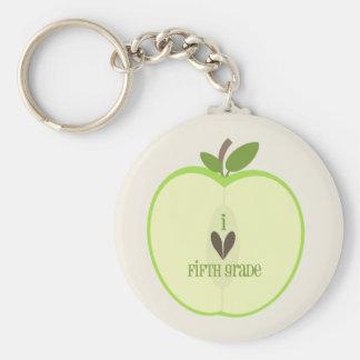 Fifth Grade Teacher Keychain - Green Apple Half