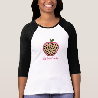 Fifth Grade Teacher Leopard Print Apple T-Shirt
