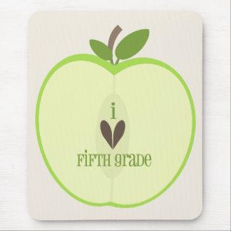 Fifth Grade Teacher Mousepad - Green Apple Half