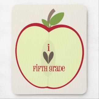 Fifth Grade Teacher Mousepad - Red Apple Half