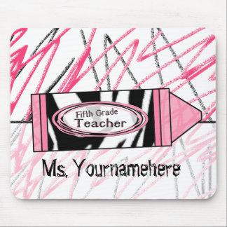 Fifth Grade Teacher Mousepad - Zebra Print Crayon
