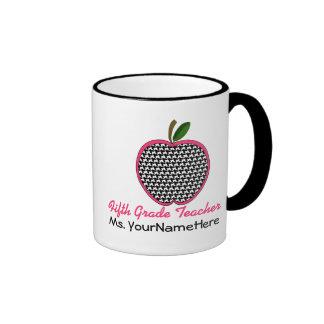 Fifth Grade Teacher Mug - Houndstooth Apple
