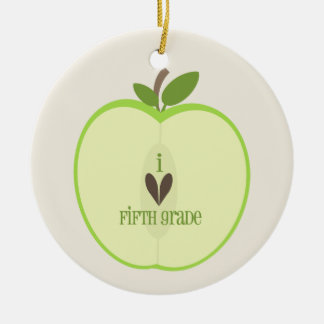 Fifth Grade Teacher Ornament - Green Apple Half