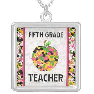Fifth Grade Teacher Paint Splatter Apple Necklace