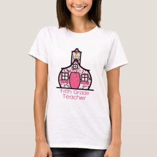 Fifth Grade Teacher Paint Splatter Schoolhouse T-Shirt