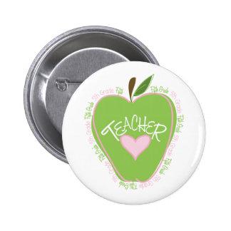 Fifth Grade Teacher Pink Green Apple Pinback Button