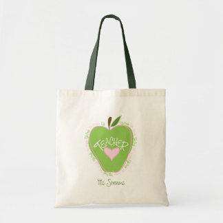 Fifth Grade Teacher Pink & Green Apple Budget Tote Bag