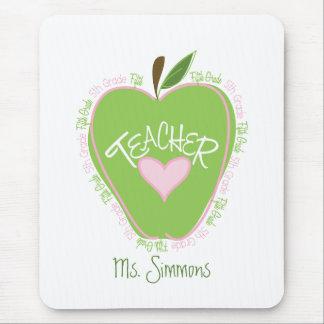 Fifth Grade Teacher Pink & Green Apple Mousepads