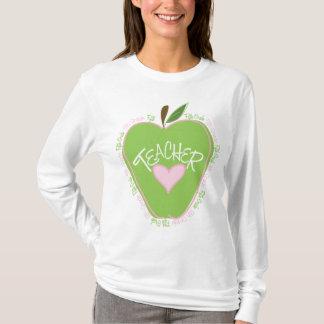 Fifth Grade Teacher Pink & Green Apple T-Shirt