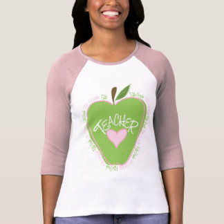 Fifth Grade Teacher Pink Green Apple Tees