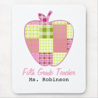Fifth Grade Teacher Plaid Apple Mousepad
