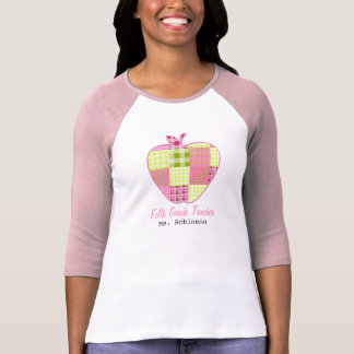 Fifth Grade Teacher Plaid Apple Tshirt