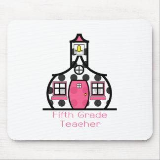 Fifth Grade Teacher Polka Dot Schoolhouse Mouse Pads