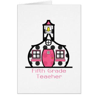 Fifth Grade Teacher Polka Dot Schoolhouse Note Card