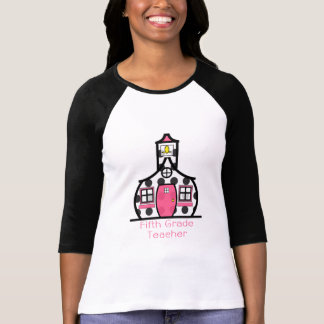 Fifth Grade Teacher Polka Dot Schoolhouse T-Shirt