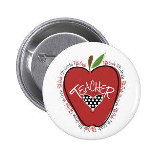 Fifth Grade Teacher Red Apple Pin