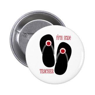 Fifth Grade Teacher Red Apple Flip Flops Pin