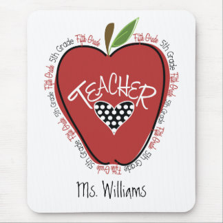 Fifth Grade Teacher Red Apple Mouse Pad