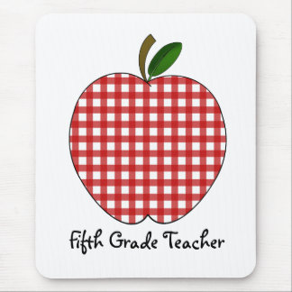 Fifth Grade Teacher Red Gingham Apple Mouse Pad
