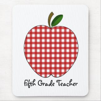 Fifth Grade Teacher Red Gingham Apple Mousepads