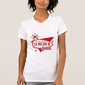 Fifth Grade Teacher Retro Red 60's Inspired Sign T Shirts